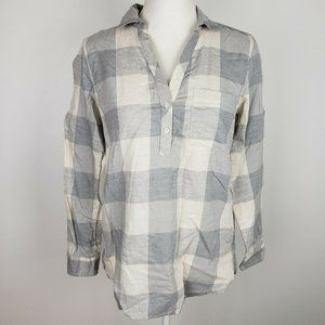 J. Crew Gray Plaid Flannel Long Sleeve